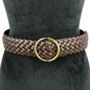 Woven Braided Brown Leather Belt